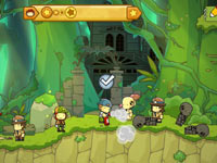 An in-game battle using created objects in Scribblenauts Unlimited