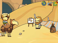Maxwell on a camel in a desert environment in Scribblenauts Unlimited