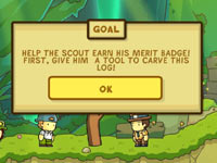 A posted in-game goal in Scribblenauts Unlimited