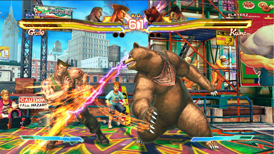 Kuma getting the better of Guile in Street Fighter X Tekken