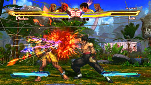 Dhalsim battling Law in a jungle environment within Street Fighter X Tekken