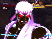Ryu injected with power in the Pandora mode of Street Fighter X Tekken