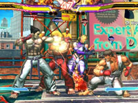 4-player simultaneous action in the Scramble mode of Street Fighter X Tekken