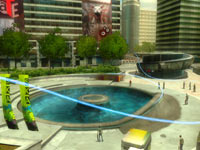 In-game urban district showing skatable path in Shaun White Skateboarding