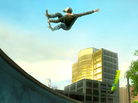 Skater catching some serious air in Shaun White Skateboarding