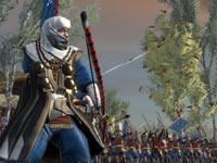 An archer hero unit leading a group of archers in Shogun 2: Total War
