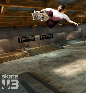 Catching some serious air off a ramp in Skate 3