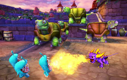 Spyro breathing fire on multiple enemies in Skylanders Spyro's Adventure