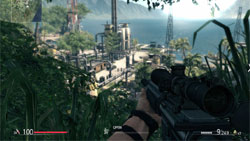 Sniper's first-person view from above a jungle refinery setting in Sniper: Ghost Warrior