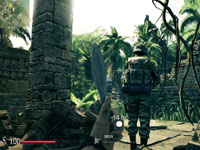 First-person view of player wielding a knife as part of an assault team in Sniper: Ghost Warrior