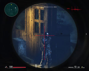An enemy in your sniper rifle's crosshairs in Sniper: Ghost Warrior