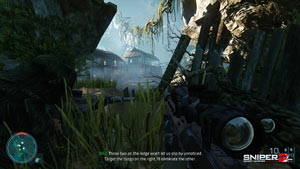 A Phillipine jungle setting featuring partial exposure to enemy fire in Sniper: Ghost Warrior 2