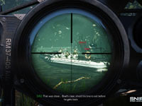 Targeting the driver of a patrol boat in Sniper: Ghost Warrior 2