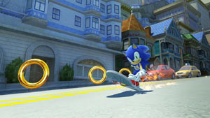 Sonic skateboarding down a hill collecting rings in Sonic Generations