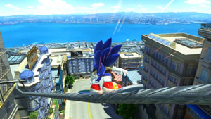 Sonic skateboarding down a cable in Sonic Generations