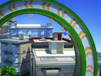Sonic sprinting through a loop course to capture rings in Sonic Generations