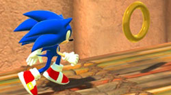 Sonic collecting rings in 'Sonic Unleashed'