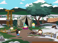 A South Park style RPG town from South Park: The Stick of Truth