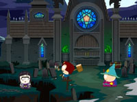 The wizard Cartman fighting from the rear in South Park: The Stick of Truth