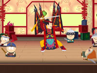 Stan getting a little help from friends in a fight against Mongol warrior kids in South Park: The Stick of Truth