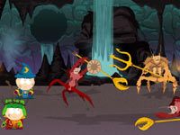 Fighting crab creatures in South Park: The Stick of Truth