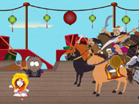 Kenny and another kid confort a group of Mongol horsemen in South Park: The Stick of Truth
