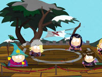 Cartman and another kid battling deadly archers in South Park: The Stick of Truth