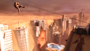 Zip lining across a devastated Dubai landscape in Spec Ops: The Line