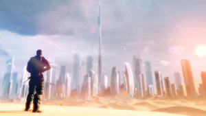 The Dubai skyline partially buried by sand in Spec Ops: The Line