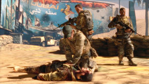 Trying in vain to recesitate a shot soldier in Spec Ops: The Line
