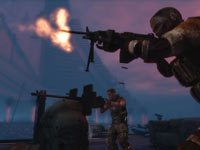 A Delta squad members firing in unison in Spec Ops: The Line