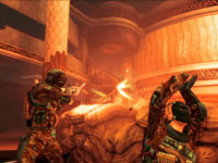 Delta squad members firing in unison from behind cover in Spec Ops: The Line