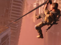 Zip lining from a rooftop in Spec Ops: The Line
