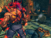 Evil Ryu standing victorious over a defeated enemy in Super Street Fighter IV: Arcade Edition