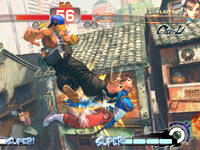 Yun putting the smackdown on Chun-li in Super Street Fighter IV: Arcade Edition