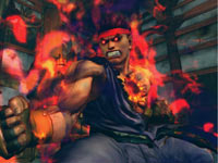 A fired up Evil Ryu ready to battle in Super Street Fighter IV: Arcade Edition