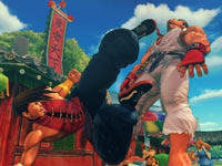 Yang landing a kick on Ryu in Super Street Fighter IV: Arcade Edition