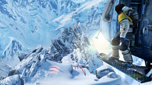Moby preparing for a helicopter drop into a run in SSX