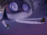 A three person race through an ice cave in SSX