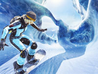 Elise speeding into an ice cave in SSX