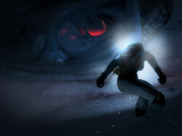 Speeding through an ice cave in the dark in SSX