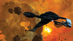 A Klingon Bird of Prey in a dramatic space setting in Star Trek Online