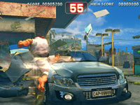 Ryu practicing his Hurricane Kick against a car in Super Street Fighter IV