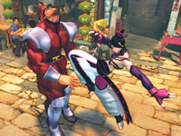 Juri using her Tae Kwon Do fighting style against M. Bison in Super Street Fighter IV