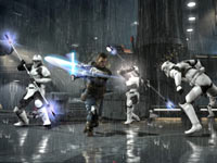 Dual-wielding light sabers againt a squad of stormtroopers in Star Wars: The Force Unleashed II