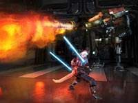 Starkiller battling a flamethrower wielding enemy in Star Wars: The Force Unleashed II