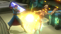 Anakin taking on a squad of droids in close quarters in 'Star Wars The Clone Wars: Republic Heroes'