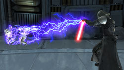 Dual wielding explosive Force power and a lightsaber in Star Wars The Force Unleashed: Ultimate Sith Edition