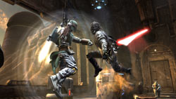 Clashing with Boba Fett on Tatoonine in Star Wars The Force Unleashed: Ultimate Sith Edition