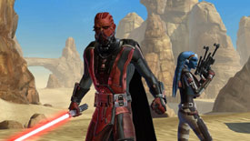 A Sith lord with his Twi'lek backup from Star Wars: The Old Republic